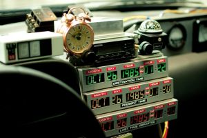 delorean clocks back to the future 1985 (year) car time machine numbers