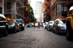 depth of field cobblestone city street road blurred