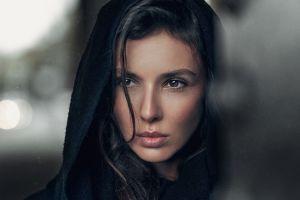 depth of field hoods brunette georgy chernyadyev women hair in face face