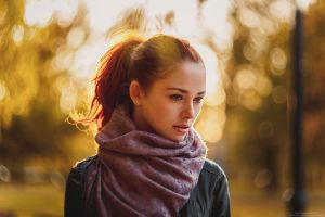 depth of field leather jackets scarf jacket face women redhead women outdoors ponytail anna zabolotskaya