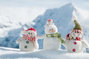 depth of field winter snow snowmen