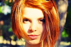 depth of field women outdoors smiling face freckles sunlight model women short hair looking at viewer trees portrait redhead brown eyes