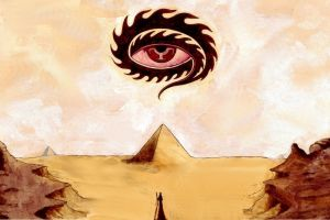 desert fantasy art pyramid painting