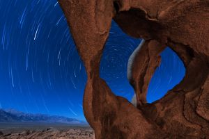 desert star trails landscape rocks