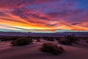 desert sunset mountains landscape sand sky dune clouds nature death valley shrubs