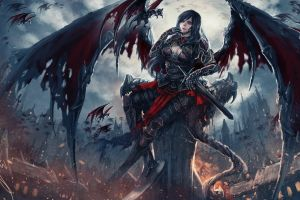 destruction wings castle armor artwork long hair creature deviantart
