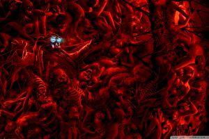 die death artwork skull hell red