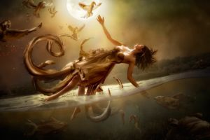 digital art artwork birds fantasy girl underwater fantasy art