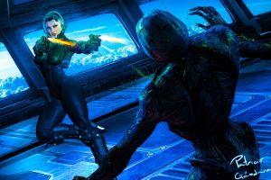 digital art artwork women gun horror science fiction