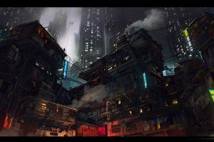 digital art city dark