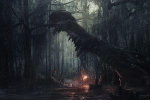 digital art desktopography crocodiles swamp boat fantasy art