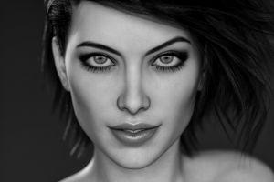 digital art face monochrome women