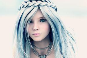 digital art face white hair artwork fictional