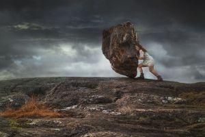 digital art fantasy art redhead muscular women photomontage conceptual white dress