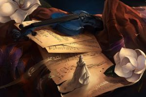 digital art flowers violin artwork musical instrument musical notes
