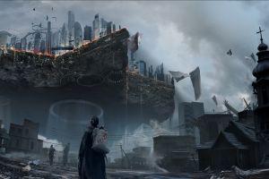 digital art futuristic city science fiction futuristic