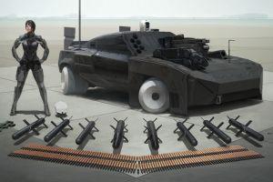 digital art futuristic cyberpunk render women vehicle render