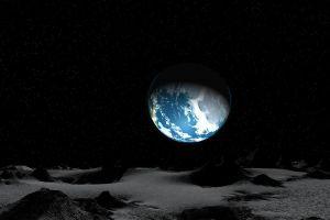 digital art moon universe earth