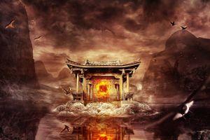 digital art nature desktopography asia temple