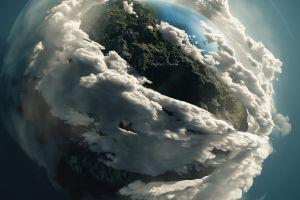 digital art planet space art clouds
