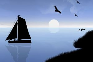 digital art reflection clouds water birds minimalism moon night silhouette landscape coast sea men grass