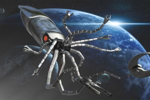 digital art science fiction futuristic technology sea monsters spaceship claws space planet lights universe stars