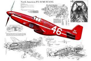 digital art sketches airplane north american p-51 mustang cockpit