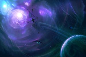 digital art space science fiction planetary rings planet space art
