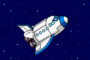 digital art space stars blue background rocket bomberman universe pixel art pixels minimalism spaceship
