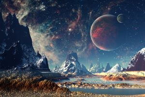 digital art stars artwork space planet mountains