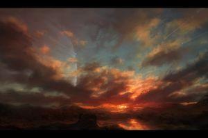 digital art sunset fantasy art planet