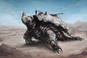 digital art turtle robot machine desert artwork futuristic mech