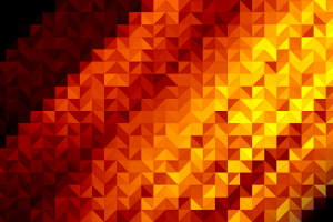 digital art wall orange square