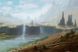digital art waterfall cliff landscape artwork nature