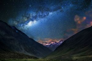 dirt road milky way landscape snowy peak mountains long exposure galaxy starry night chile nature