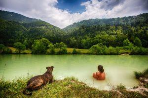 dog women outdoors women outdoors animals river