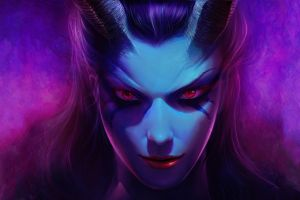 dota queen of pain dota 2 looking at viewer