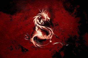 dragon artwork red background