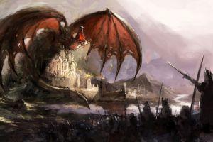 dragon castle fantasy art creature