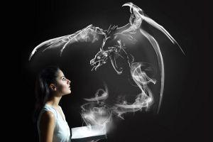 dragon smoke fantasy art women