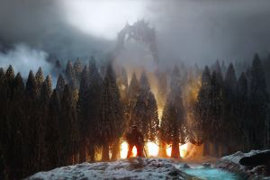 dragon trees fire the elder scrolls v: skyrim video games forest