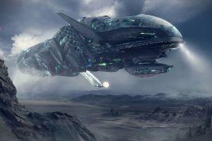 dragos jieanu futuristic science fiction spaceship artwork