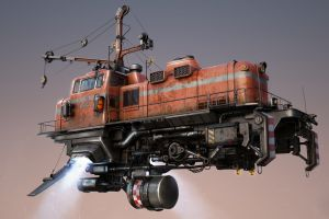 drawing flying machine diesel locomotive cgi technology floating dieselpunk futuristic digital art vehicle artwork steampunk airship pipes simple background