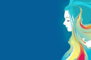 drawing women cyan hair colorful blue fish blue hair