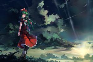 dress anime anime girls green eyes clouds kagiyama hina touhou green hair