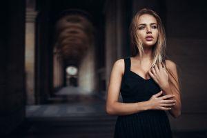 dress black dress blonde building ivan gorokhov women