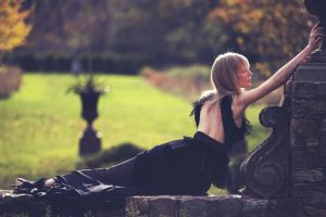 dress blonde bangs women women outdoors black dress