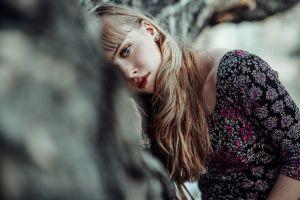 dress blue eyes blonde women bangs