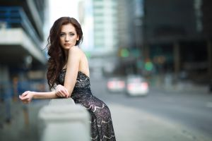 dress blue eyes model long hair women outdoors city women brunette blurred