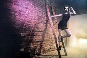 dress caucasian smoke mist wall ladders black dress women